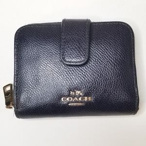 Coach Signature Navy Blue Medium Zip Around Wallet